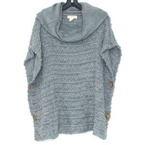 Orange Womens Poncho Sweater Cowl Neck Gray H1